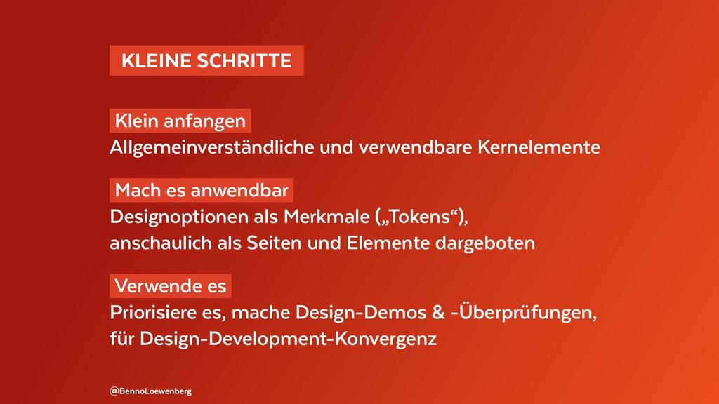 KLEINE SCHRITTE Klein anfangen Allgemeinvers...