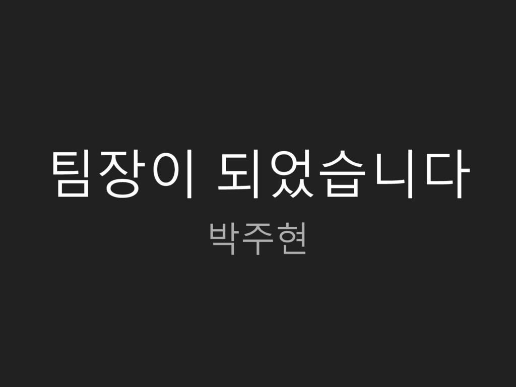팀장이 되었습니다 박주현