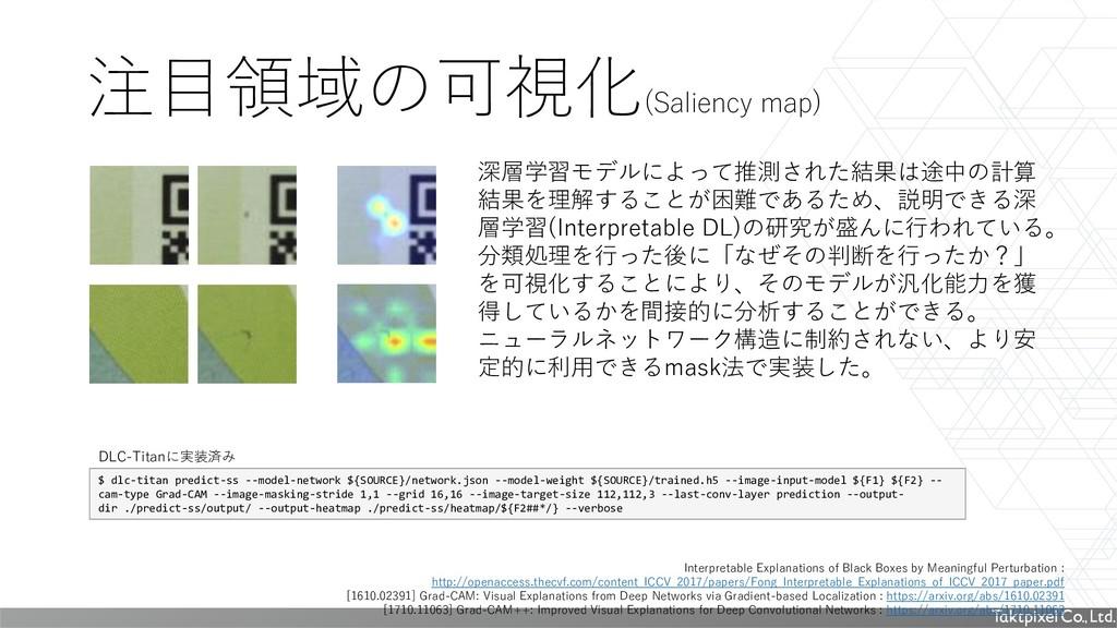 注目領域の可視化 (Saliency map) Interpretable Explanati...