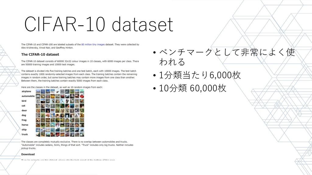 CIFAR-10 dataset • ベンチマークとして非常によく使 われる • 1分類当たり...