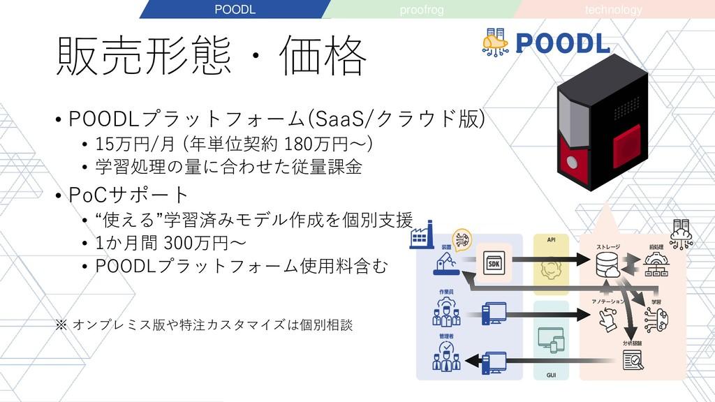 販売形態・価格 • POODLプラットフォーム(SaaS/クラウド版) • 15万円/月 (年...