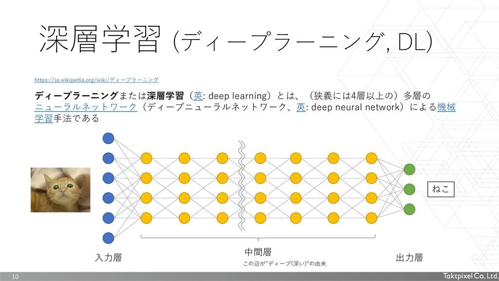 深層学習 (ディープラーニング, DL) 10 ディープラーニングまたは深層学習(英: dee...