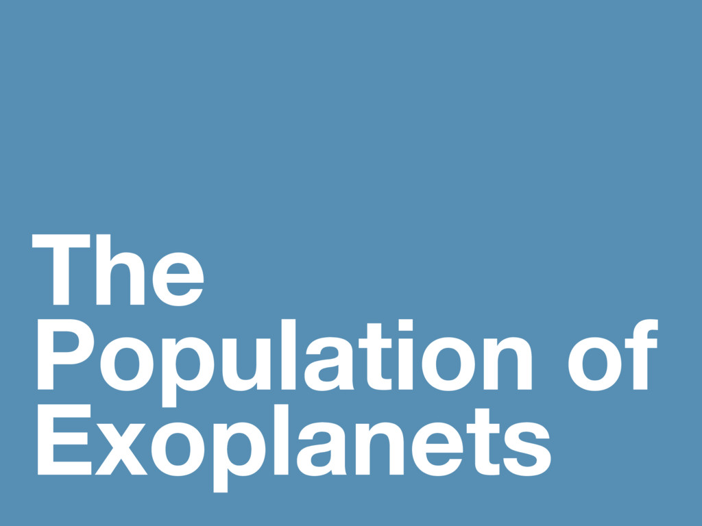 The Population of Exoplanets