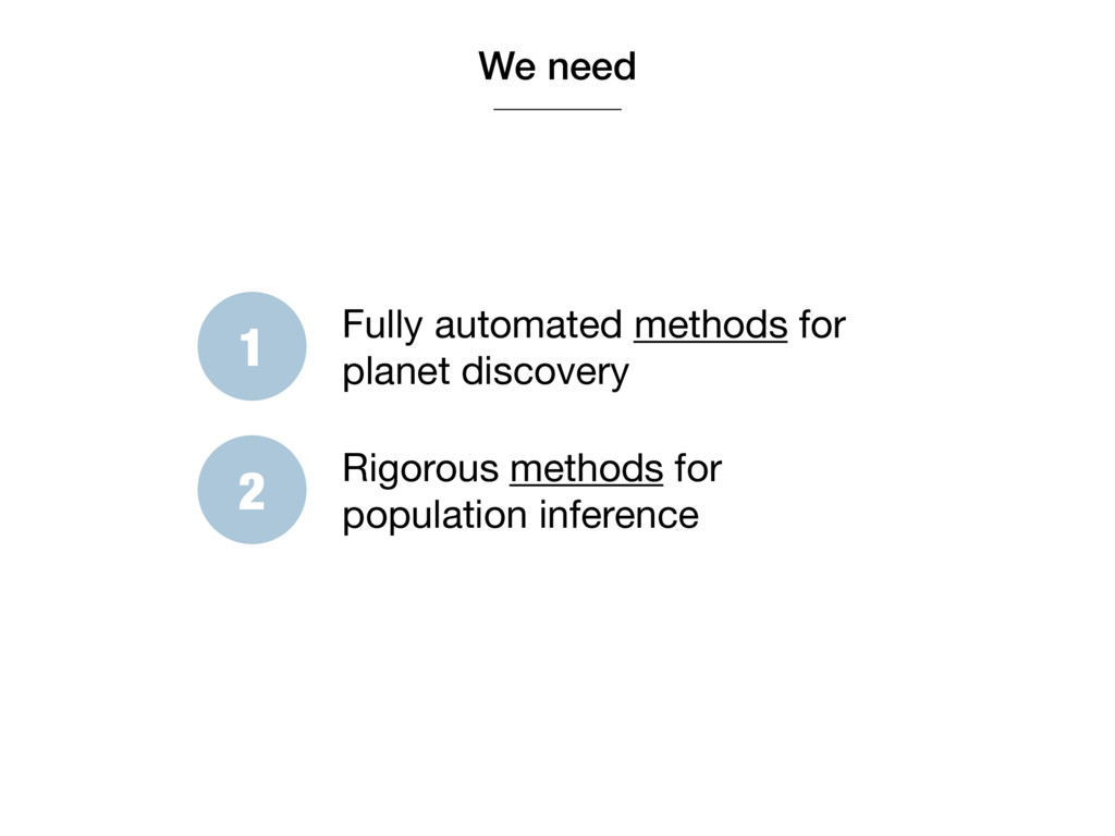 We need 1 Fully automated methods for planet di...