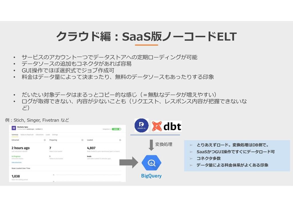 クラウド編:SaaS版ノーコードELT • サービスのアカウント一つでデータストアへの定期ロー...