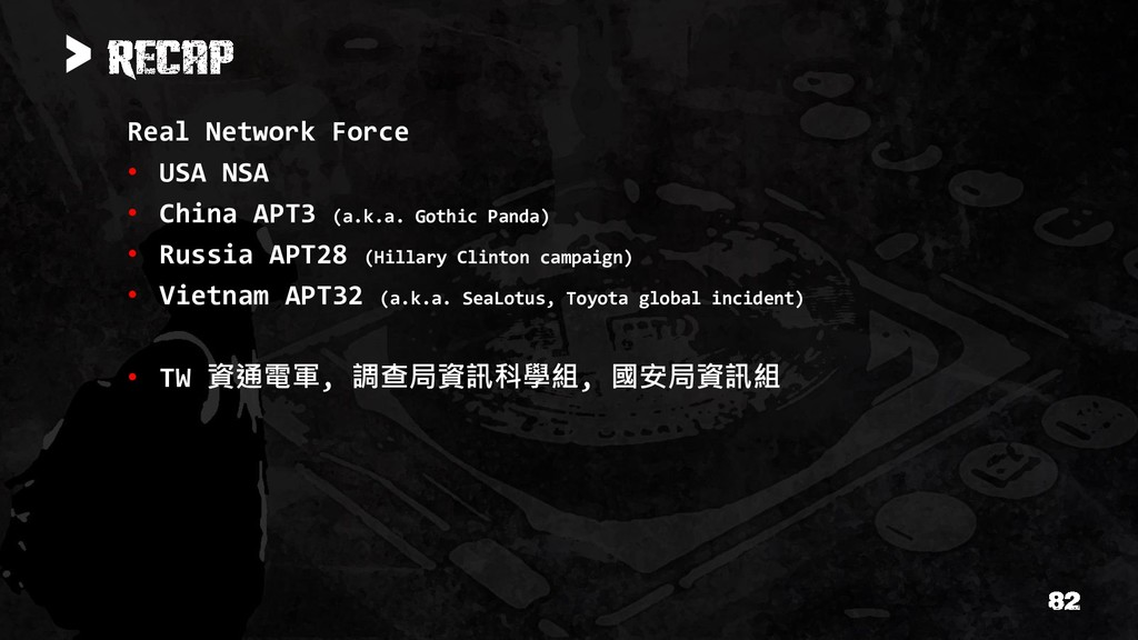 > Real Network Force • USA NSA • China APT3 (a....