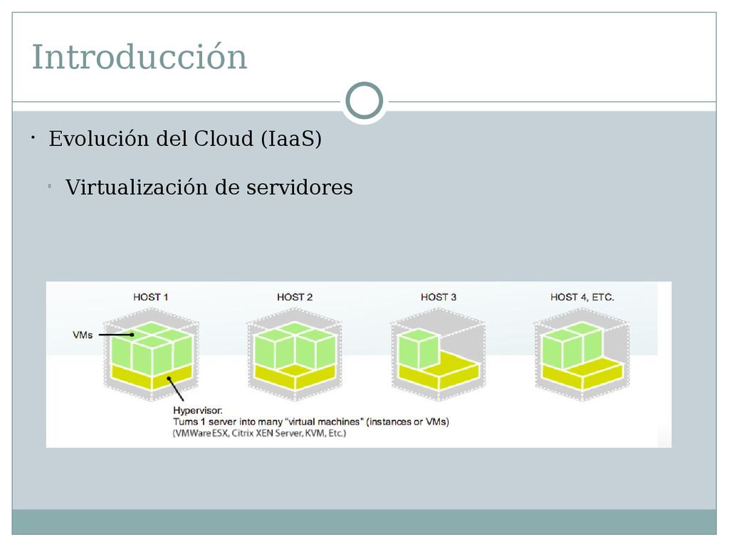Introducción  Evolución del Cloud (IaaS) l Vir...