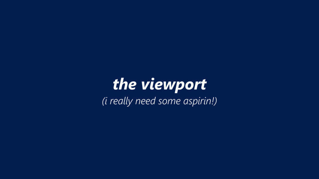 the viewport (i really need some aspirin!)