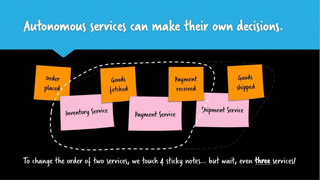 Autonomous services can make their own decision...