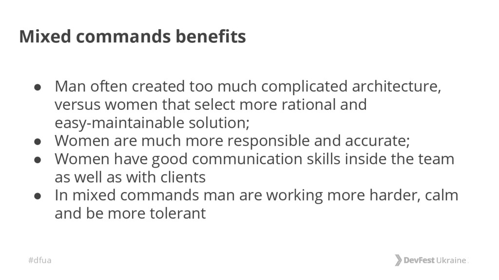 #dfua Mixed commands benefits ● Man often creat...