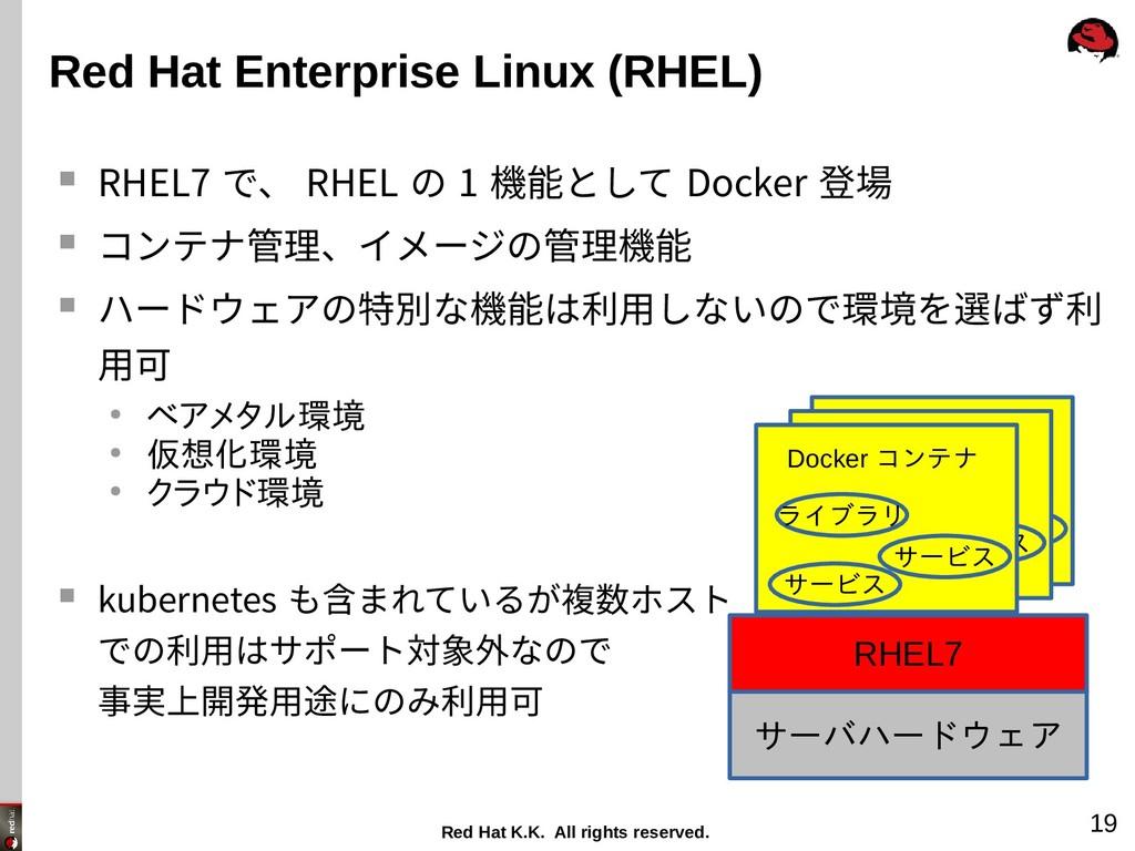 Red Hat K.K. All rights reserved. 19 Red Hat En...