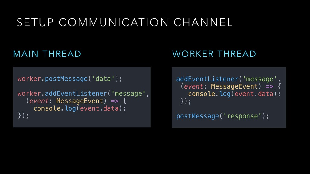 SETUP COMMUNICATION CHANNEL MAIN THREAD worker....