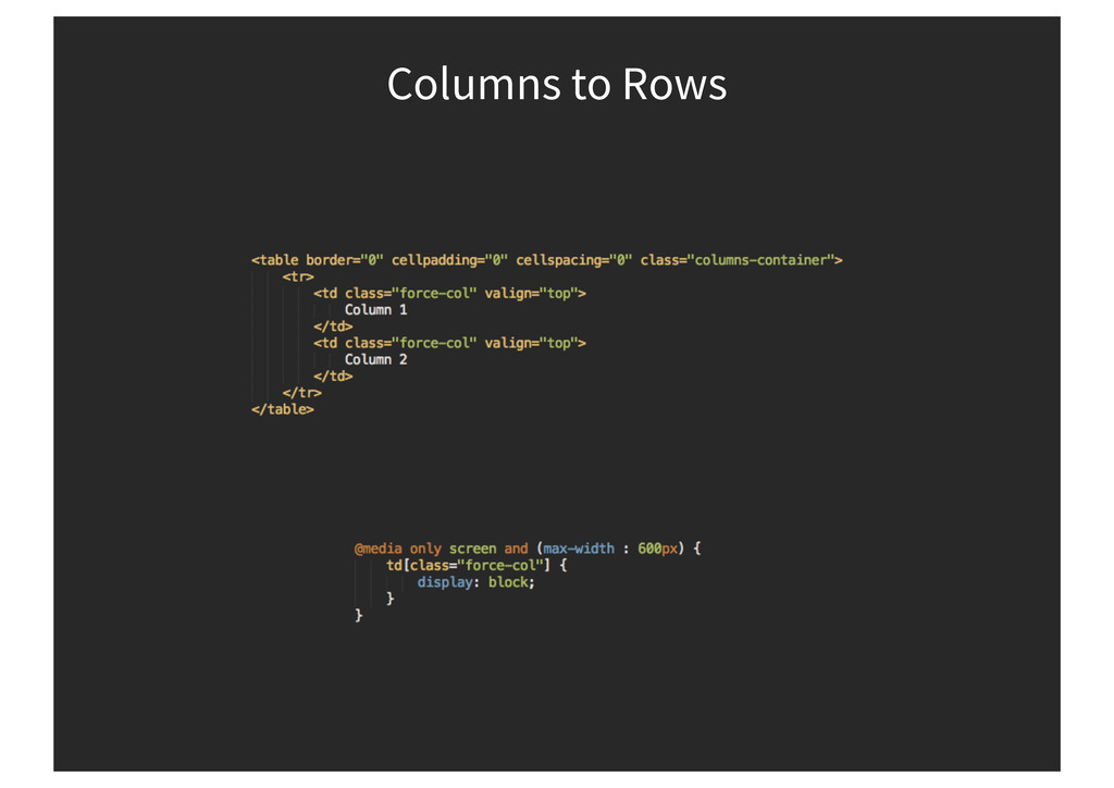 Columns to Rows