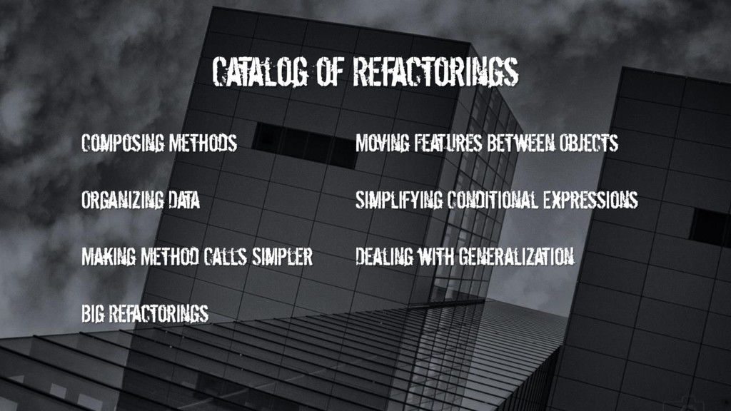 Catalog of Refactorings Composing Methods Movin...