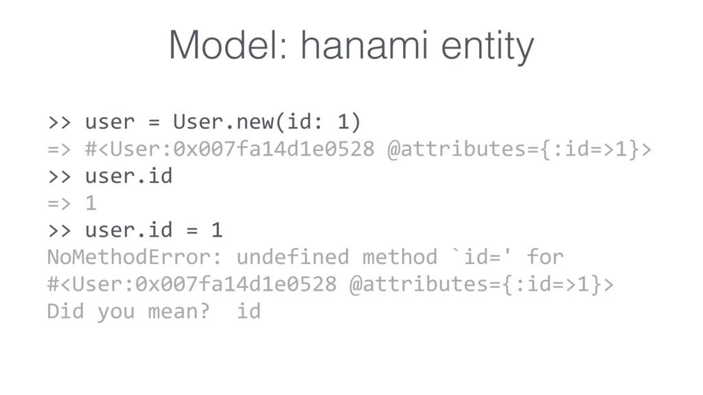 Model: hanami entity >> user = User.new(id: 1) ...