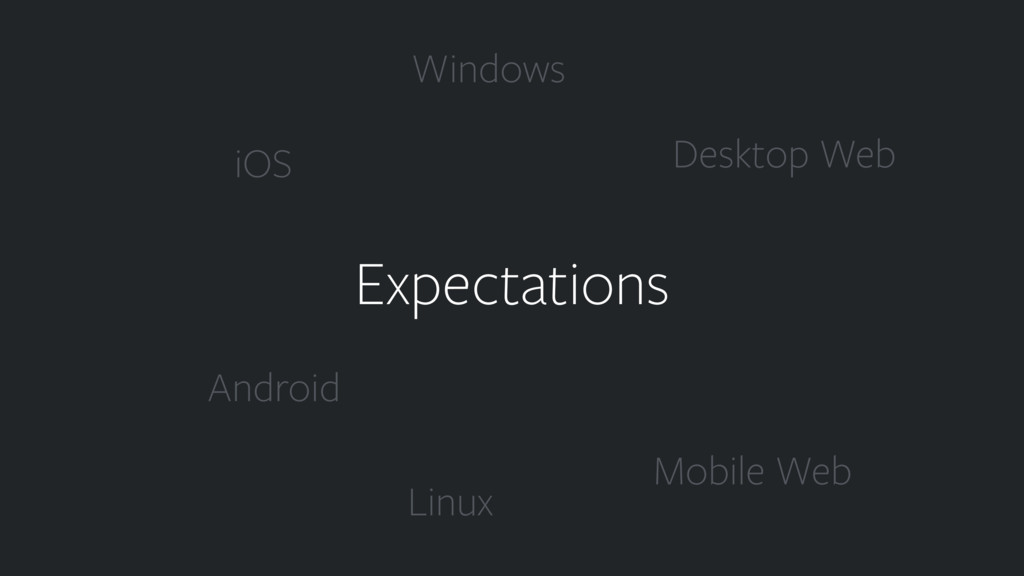 Expectations iOS Android Desktop Web Mobile Web...