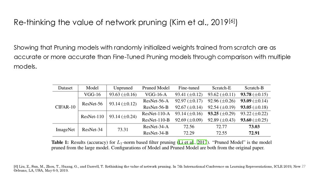 Re-thinking the value of network pruning (Kim e...