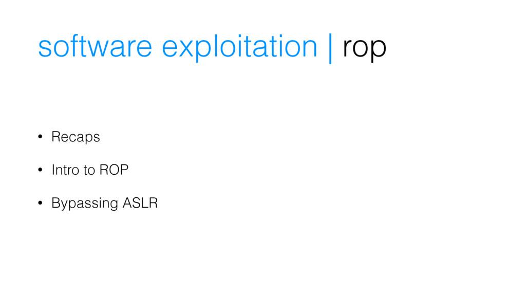 software exploitation | rop • Recaps • Intro to...