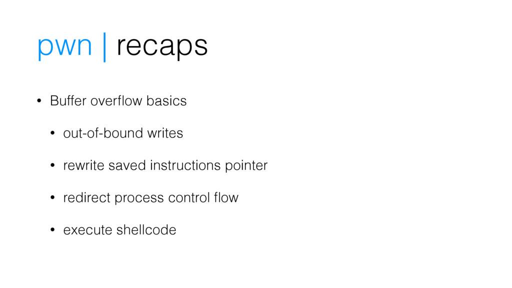 pwn | recaps • Buffer overflow basics • out-of-b...