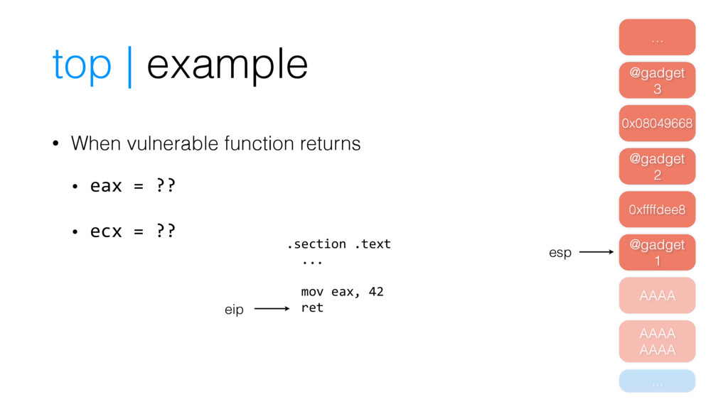 top | example • When vulnerable function return...