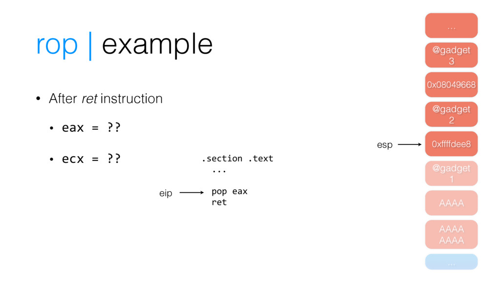 rop | example • After ret instruction • eax = ?...