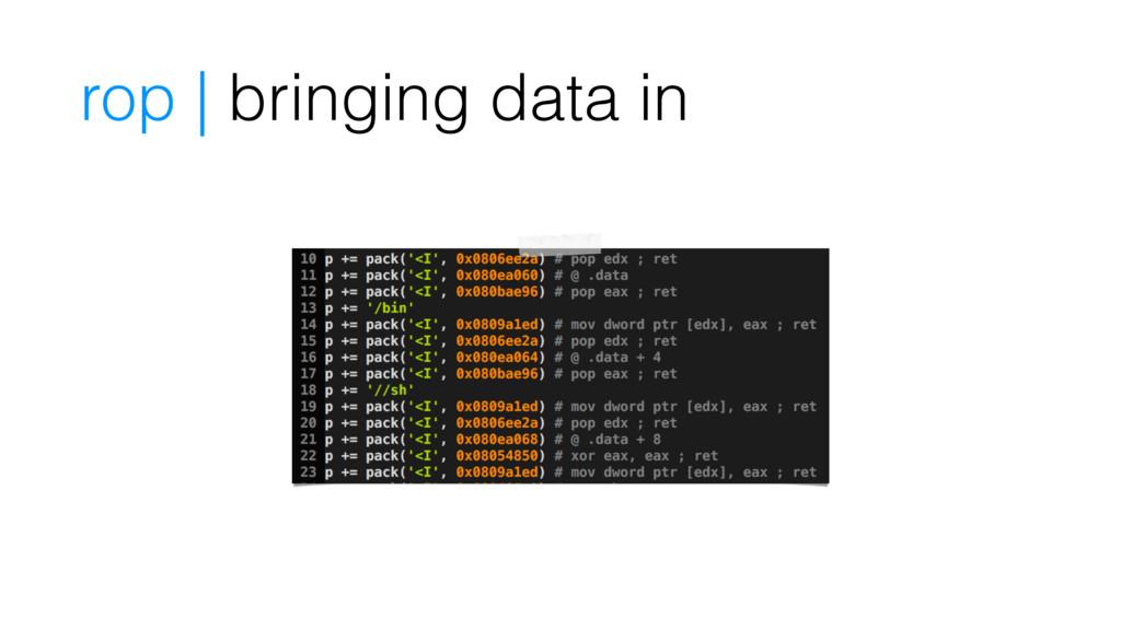 rop | bringing data in