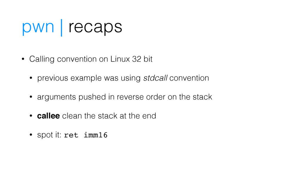 pwn | recaps • Calling convention on Linux 32 b...