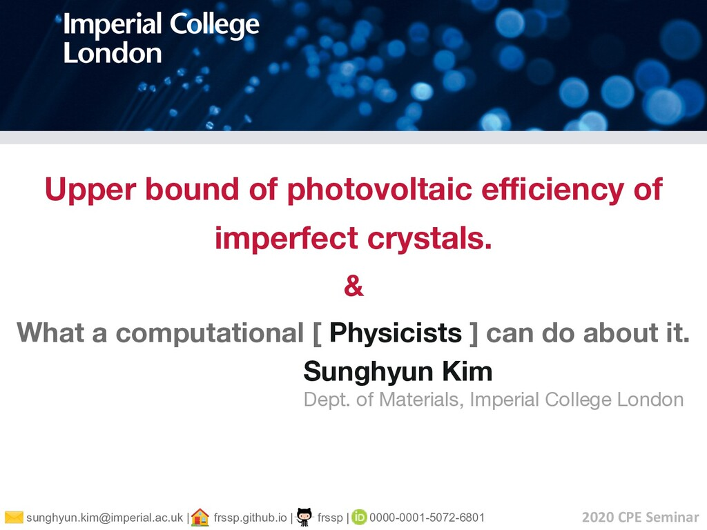 Upper bound of photovoltaic efficiency of imperfe...