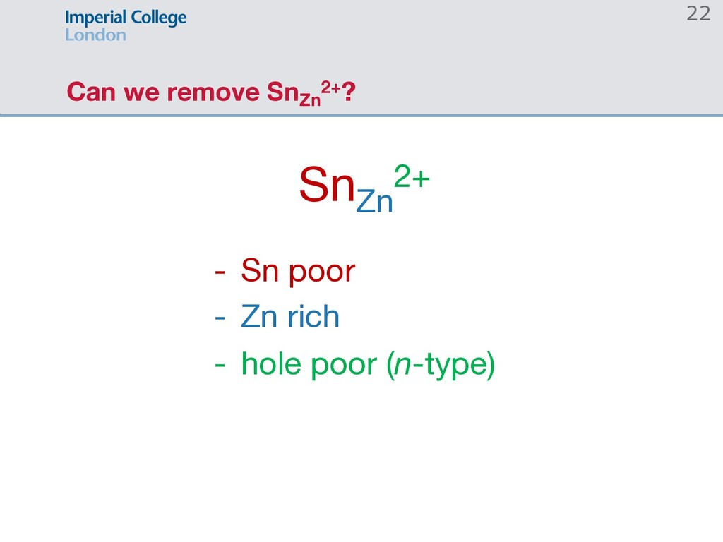 Can we remove SnZn 2+? SnZn 2+ - Sn poor - Zn r...
