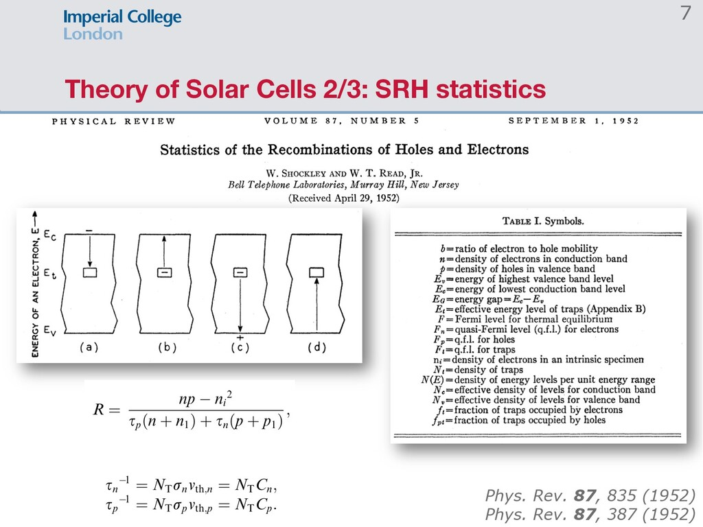 Theory of Solar Cells 2/3: SRH statistics 7 Phy...