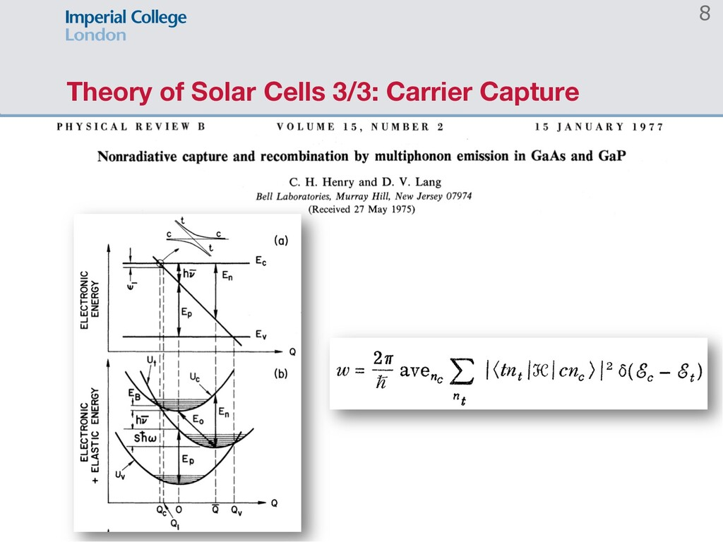 Theory of Solar Cells 3/3: Carrier Capture 8