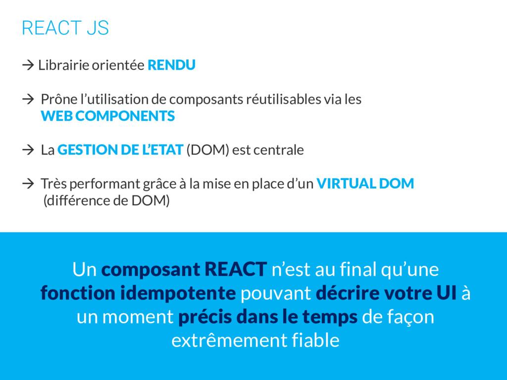 REACT JS  Librairie orientée RENDU  Prône l'u...