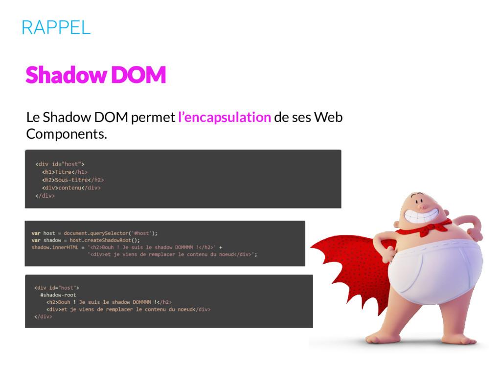 RAPPEL Le Shadow DOM permet l'encapsulation de ...