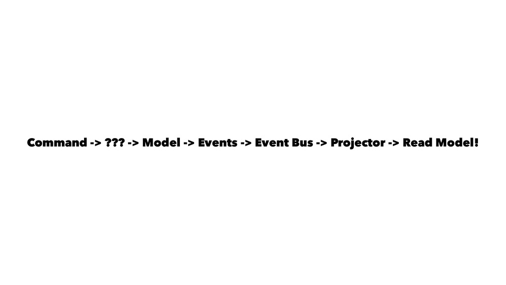 Command -> ??? -> Model -> Events -> Event Bus ...