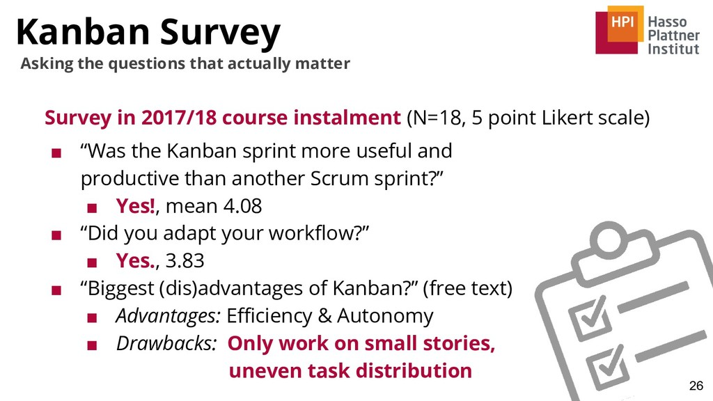 Kanban Survey Survey in 2017/18 course instalme...