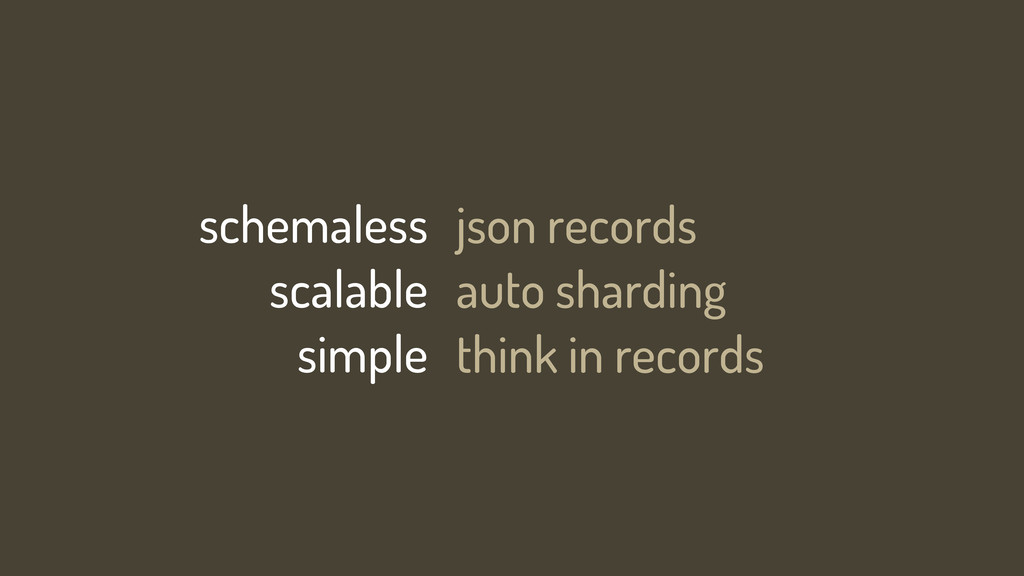 schemaless scalable simple json records auto sh...