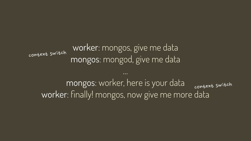 worker: mongos, give me data mongos: mongod, gi...