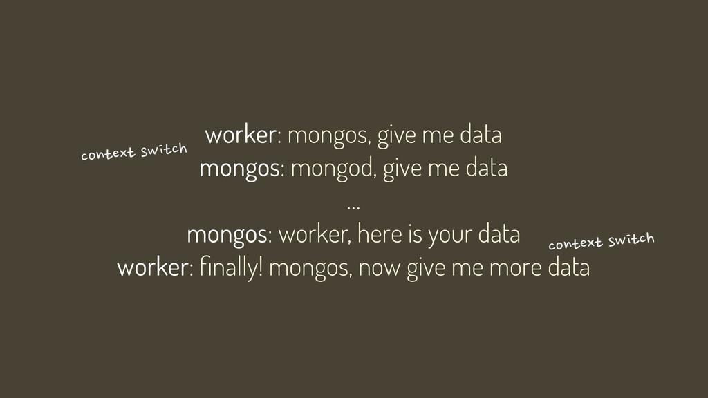 worker: mongos, give me data mongos: mongod, gi...