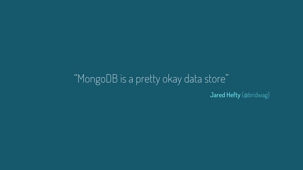 """MongoDB is a pretty okay data store"" Jared Hef..."