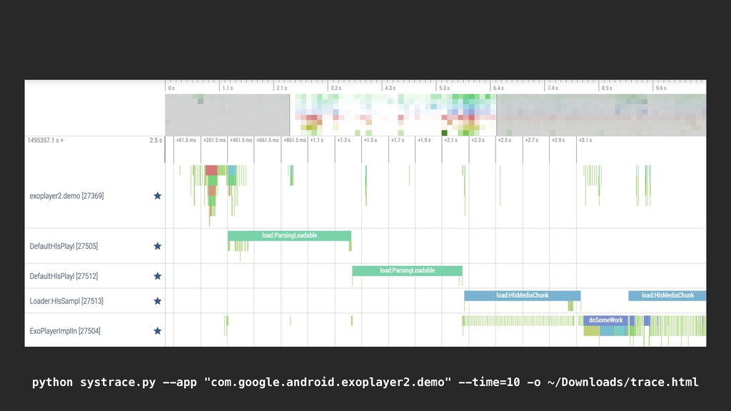 """python systrace.py --app """"com.google.android.ex..."""