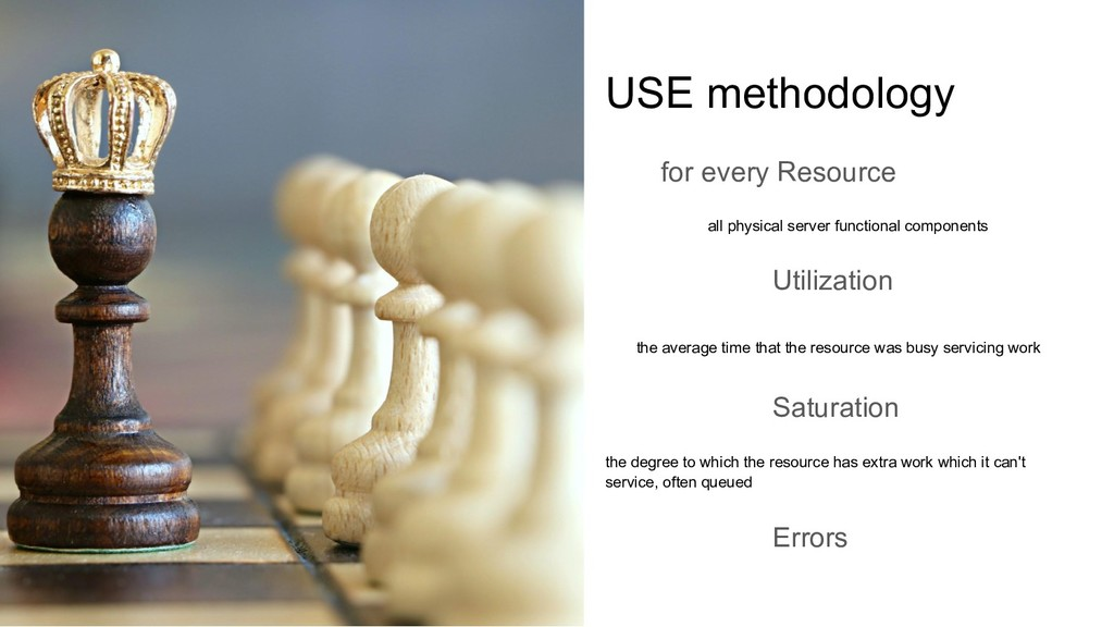 USE methodology for every Resource all physical...