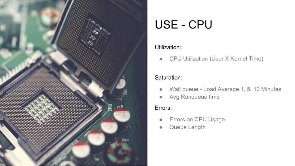 USE - CPU Utilization: ● CPU Utilization (User ...