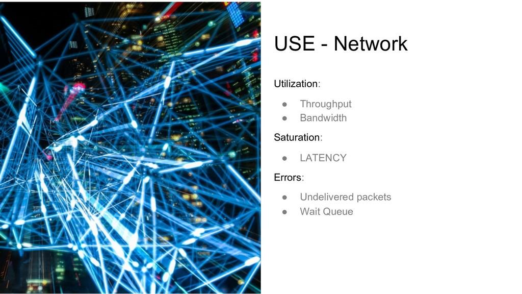 USE - Network Utilization: ● Throughput ● Bandw...