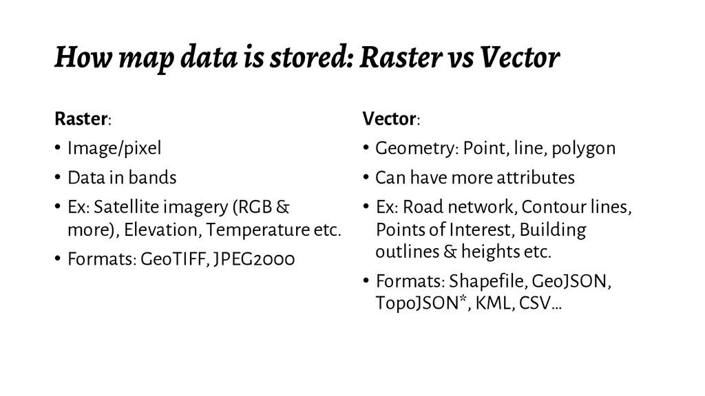 How map data is stored: Raster vs Vector Raster...