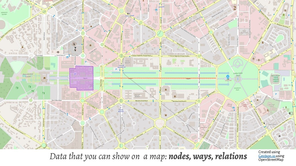 Data that you can show on a map: nodes, ways, r...