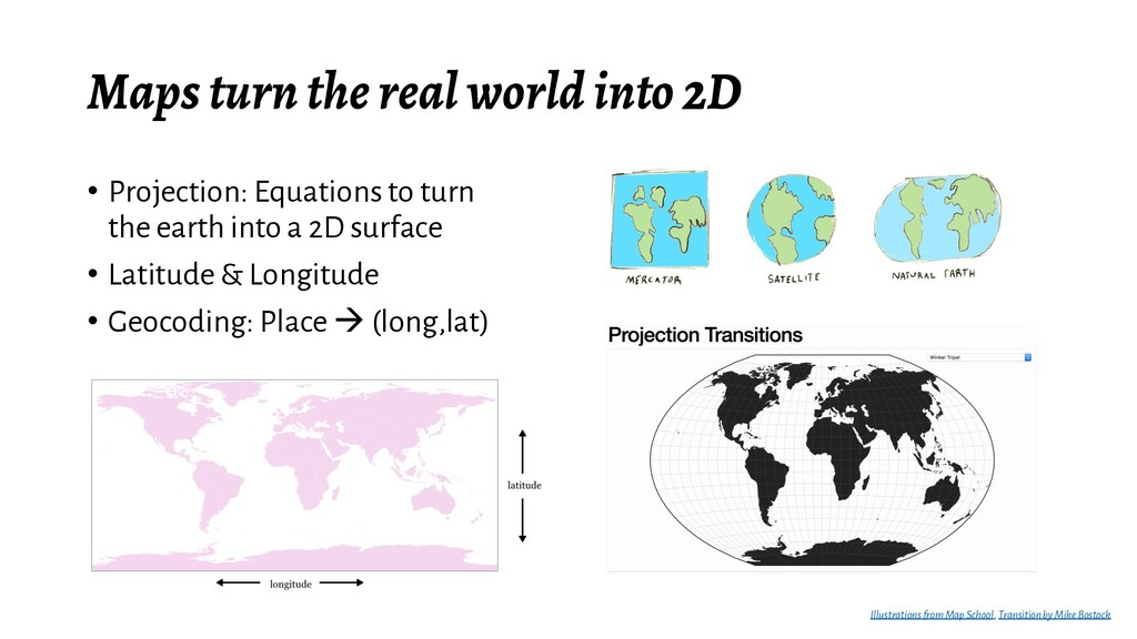 Maps turn the real world into 2D • Projection: ...