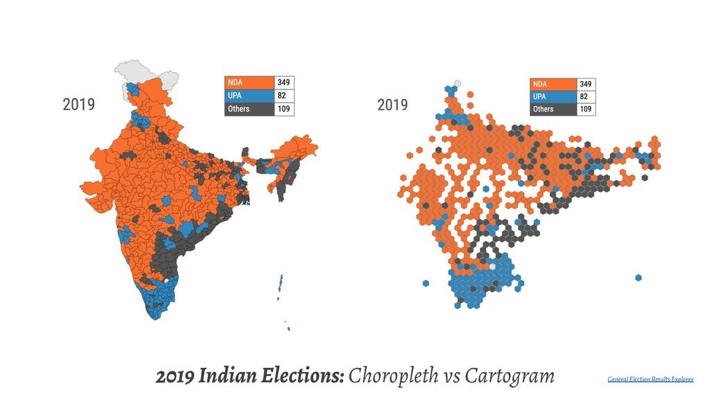2019 Indian Elections: Choropleth vs Cartogram ...