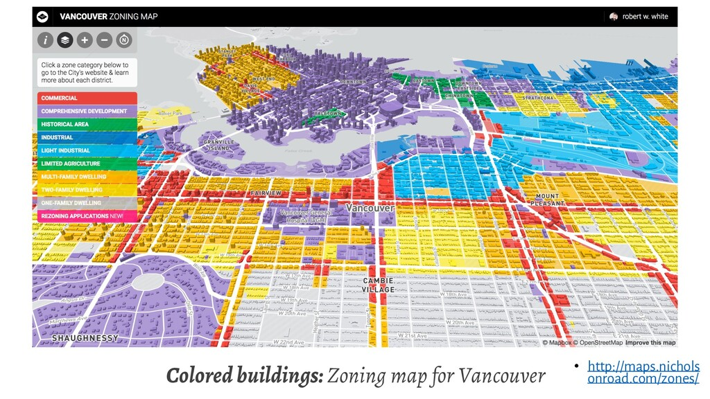 Colored buildings: Zoning map for Vancouver • h...