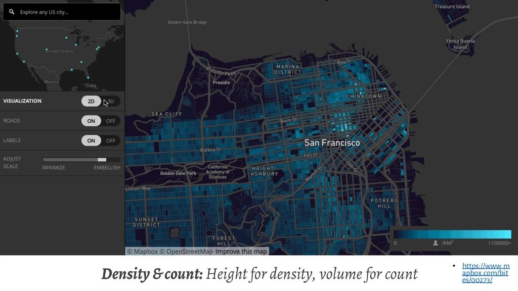 Density & count: Height for density, volume for...