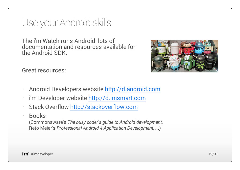 The i'm Watch runs Android: lots of documentati...